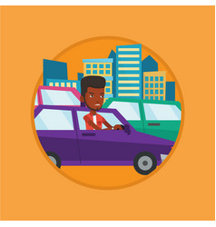 angry african man in car stuck in traffic jam vector image