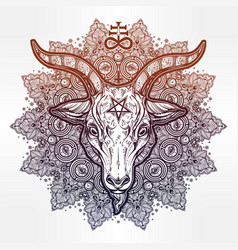 Satanic eye in ornate mandala with demon baphomet vector