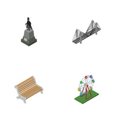 Isometric urban set of recreation sculpture vector