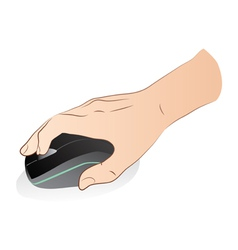 Hand with optical mouse vector