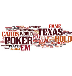 Texas hold em text background word cloud concept vector