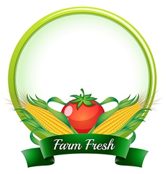 A farm fresh label with corns and tomato vector