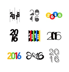 2016 happy new year number text design vector