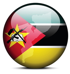 Map on flag button of republic mozambique vector