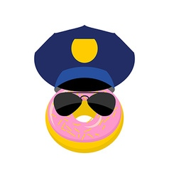 Donut in a police cap and glasses policeman vector