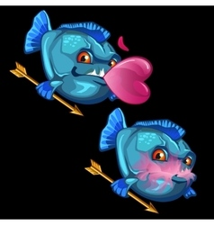 Blue fish with gold arrows and pink bubble gum vector image