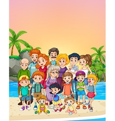 Familly members standing on the beach vector