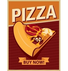 Banner with slice of pizza vector