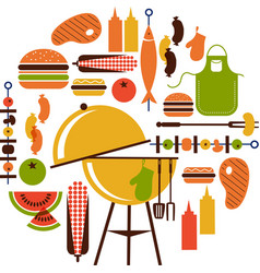 Set of bbq objects vector