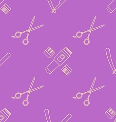 Deco hairdresser tools seamless pattern vector