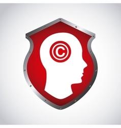 Human head and c icon copyright design vector