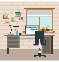 Designer working place composition vector