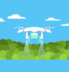 Agriculture drone flight on forest design vector