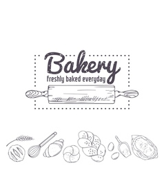 Bakery logo template hand drawn rolling pin and vector