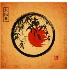 Bamboo trees in black enso zen circle vector