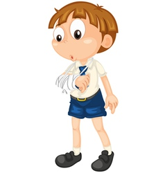 boy with fractured hand vector image vector image