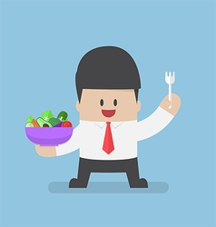 Businessman holding vegetables salad bowl and fork vector