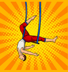 circus acrobat on trapeze pop art vector image vector image