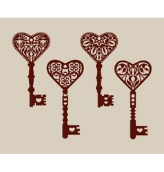 Collection of templates of decorative keys vector
