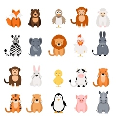 Cute animal set on white background Fox vector image vector image