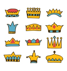 Doodle set of crowns Hand drawn crowns vector image