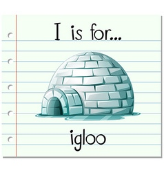 Flashcard alphabet i is for igloo vector