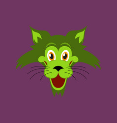 Flat icons on theme funny animals cat vector