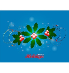Happy holidays flourish over blue glowing vector