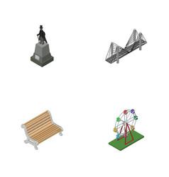 Isometric urban set of recreation sculpture vector