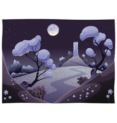 Landscape with tower in the night vector