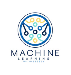 Machine learning icon in circle shape computer vector