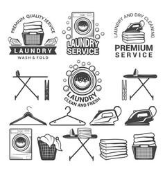 monochrome labels of laundry service vector image
