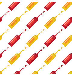 Mustard and ketchup seamless pattern vector