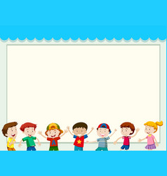 Paper background with happy children vector