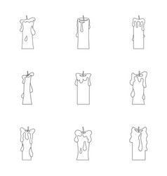 paraffin candle icon set outline style vector image vector image