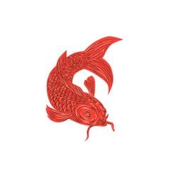 Red koi nishikigoi carp fish drawing vector