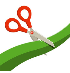 red scissors with green ribbon isolated on white vector image