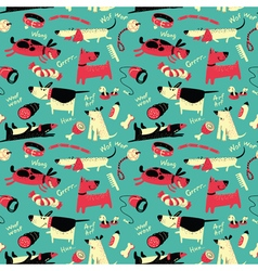 seamless pattern with cartoon funny dogs vector image vector image