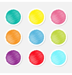 Set of blank colorful round label buttons tag vector image