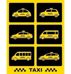 Set of taxi car on black buttons vector