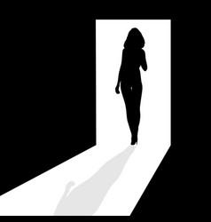 Silhouette in the doorway vector