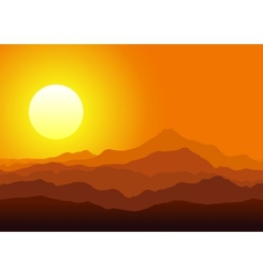 Sunset in the huge mountains vector