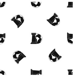 world planet and chess rook pattern seamless black vector image vector image