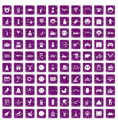 100 funny icons set grunge purple vector image vector image