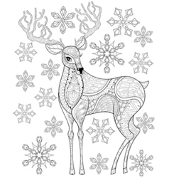 Zentangle christmas reindeer on snowflakes for vector