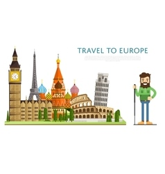 Travel to europ banner with famous attractions vector
