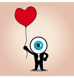 The blue eye hold red heart balloon vector image
