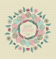 Happy birthday floral design vector
