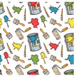 Seamless pattern with paintbrushes and paint vector
