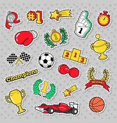 Sports winner badges patches and stickers vector